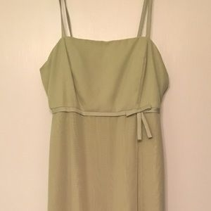 Sage Green Tea Length Formal Dress